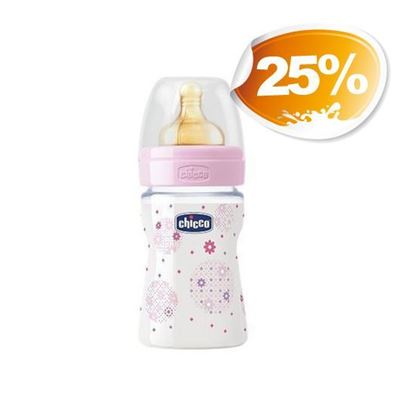 CHICCO BIBERON 150ML POLIPROPILENE  GIRL CAUCCIU' 1F
